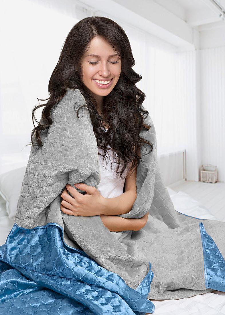 Покрывало Sleep iX Покрывало Shine'n Soft Цвет: Серый/Голубой (220х240 см)