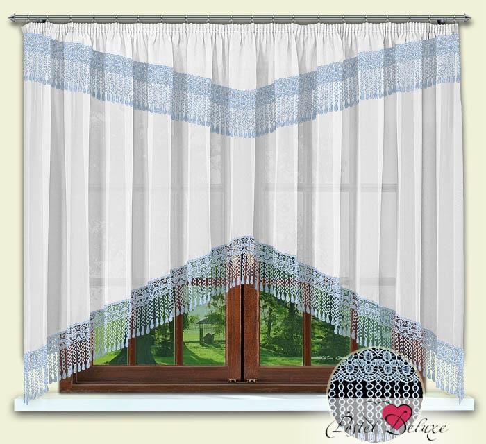 Шторы РеалТекс Классические шторы Karon Цвет: Голубой-Белый шторы реалтекс классические шторы alberta цвет персиковый молочный