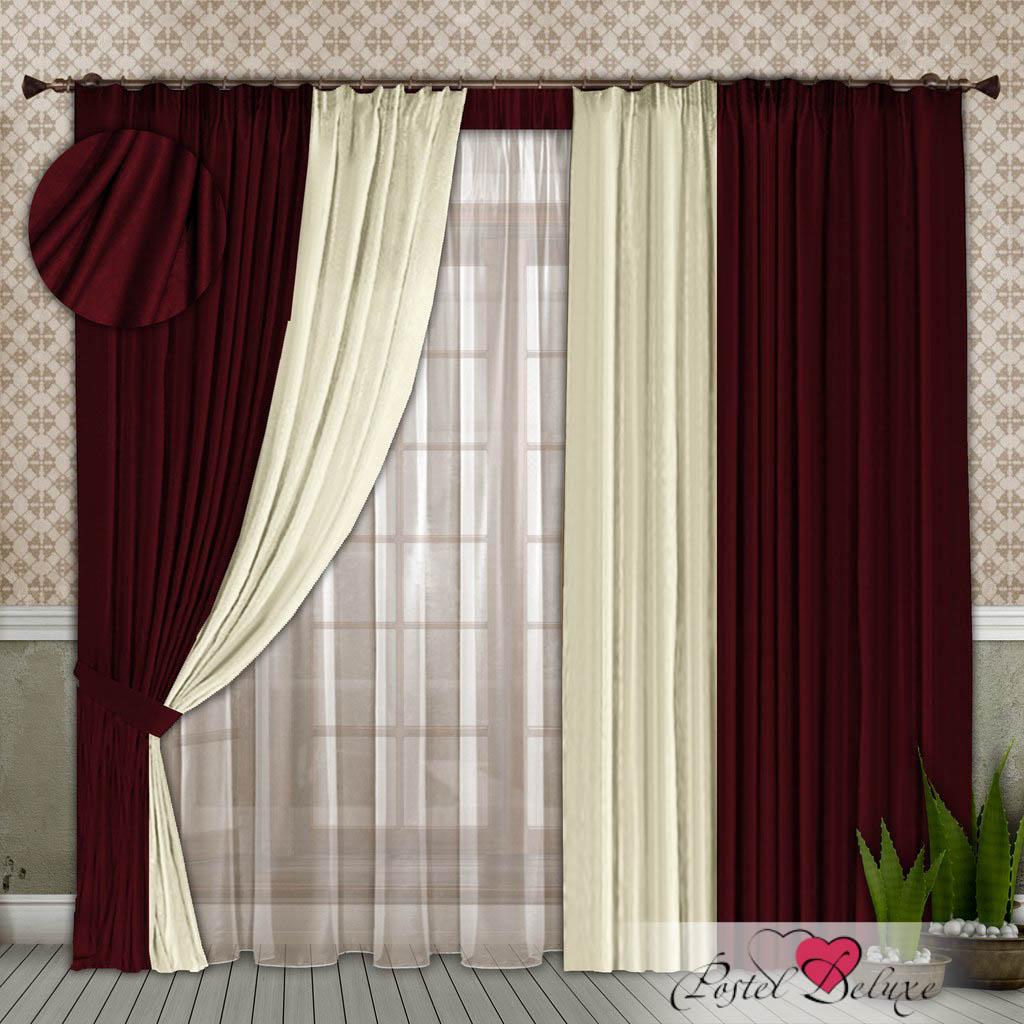 Шторы РеалТекс Классические шторы Alberta Цвет: Бордовый-Молочный шторы реалтекс классические шторы alberta цвет персиковый молочный