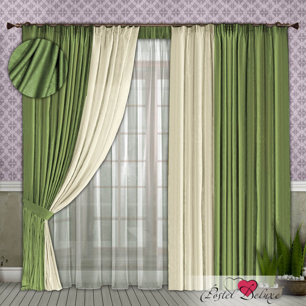 Шторы РеалТекс Классические шторы Alberta Цвет: Фисташковый-Молочный шторы реалтекс классические шторы alberta цвет персиковый молочный