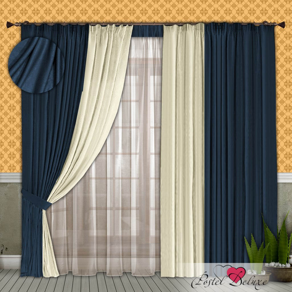 Шторы РеалТекс Классические шторы Alberta Цвет: Синий-Молочный шторы реалтекс классические шторы alberta цвет персиковый молочный