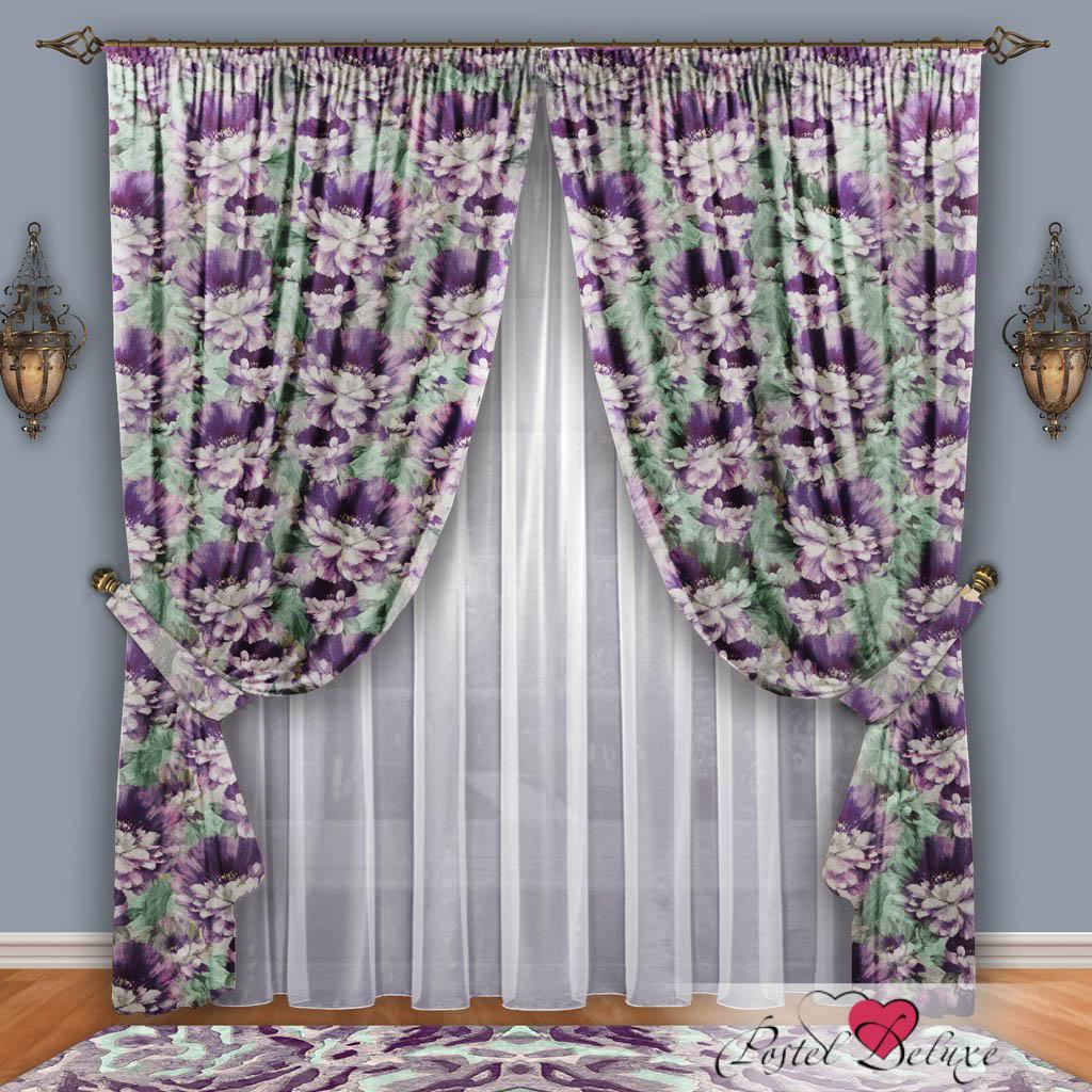 Шторы РеалТекс Классические шторы Набивной Пион Цвет: Фиолетовый-Фисташковый шторы реалтекс классические шторы alberta цвет персиковый молочный