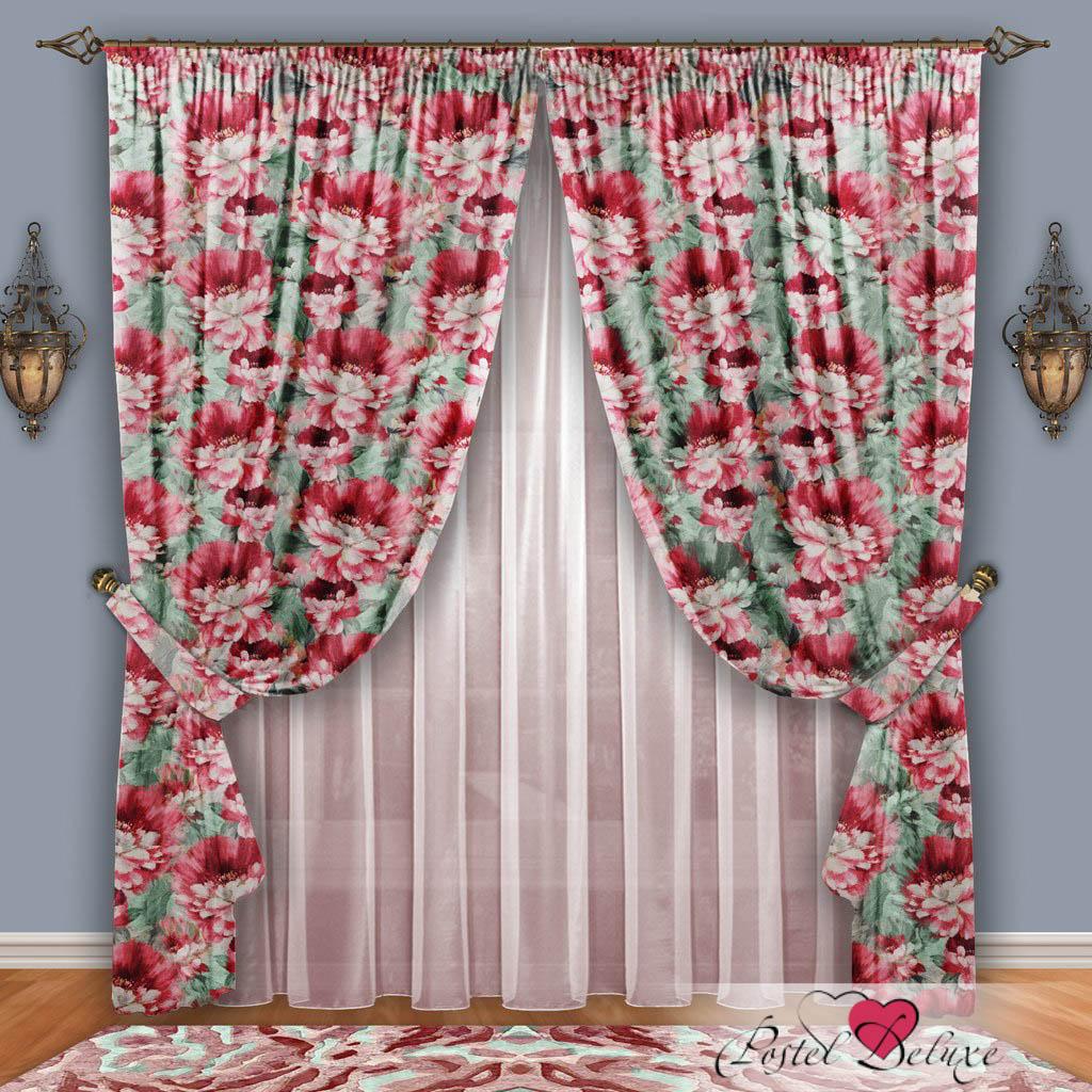 Шторы РеалТекс Классические шторы Набивной Пион Цвет: Розовый-Фисташковый шторы tac классические шторы глянец цвет портьер розовый цвет тюля белый с бежевой полоской