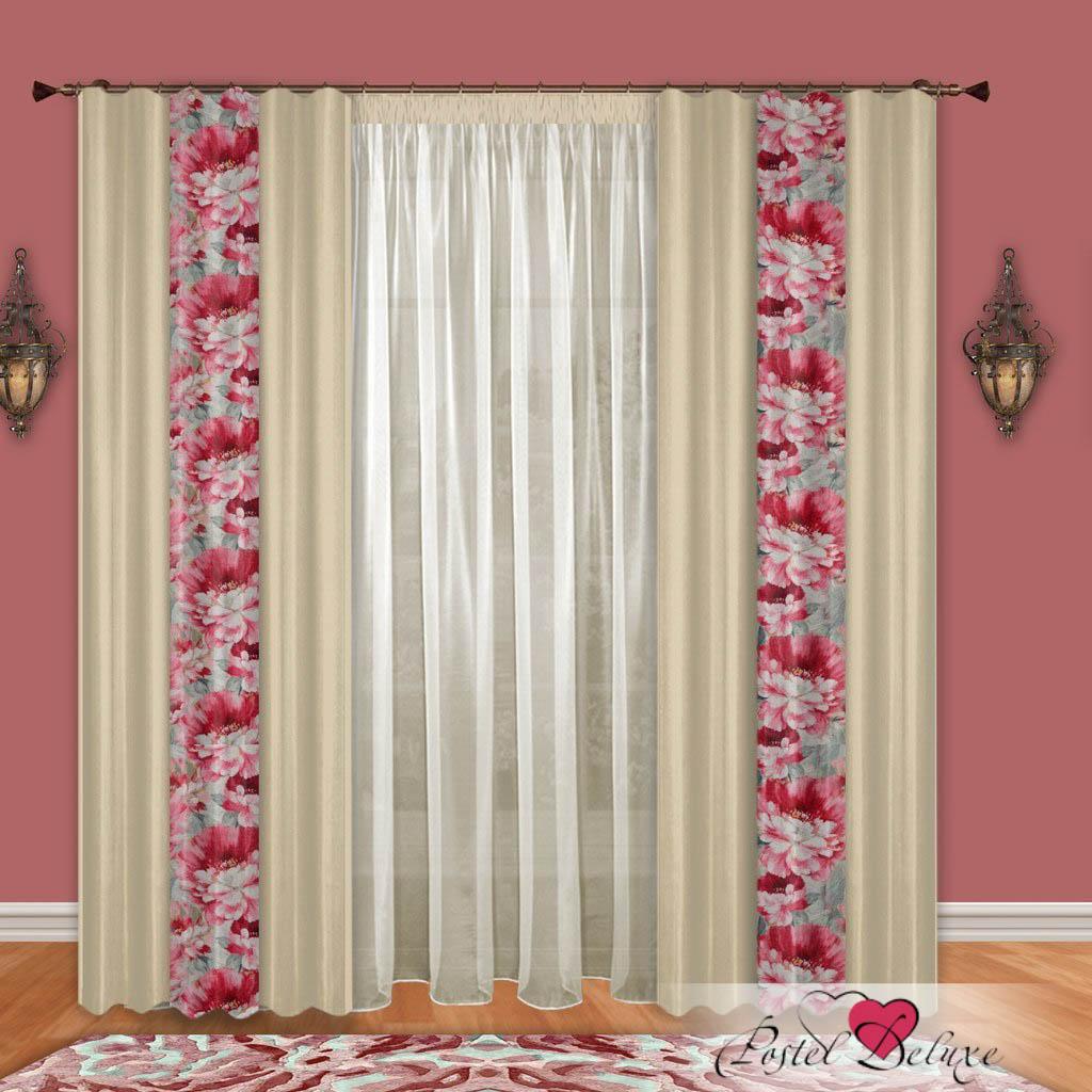 Шторы РеалТекс Классические шторы Набивной Пион Цвет: Молочный-Розовый шторы реалтекс классические шторы alberta цвет персиковый молочный