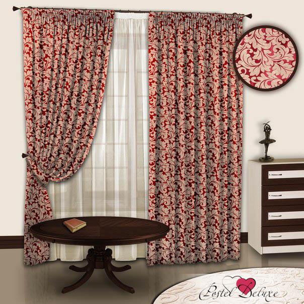 Шторы РеалТекс Классические шторы Akina Цвет: Бежевый-Бордовый шторы реалтекс классические шторы alberta цвет персиковый молочный