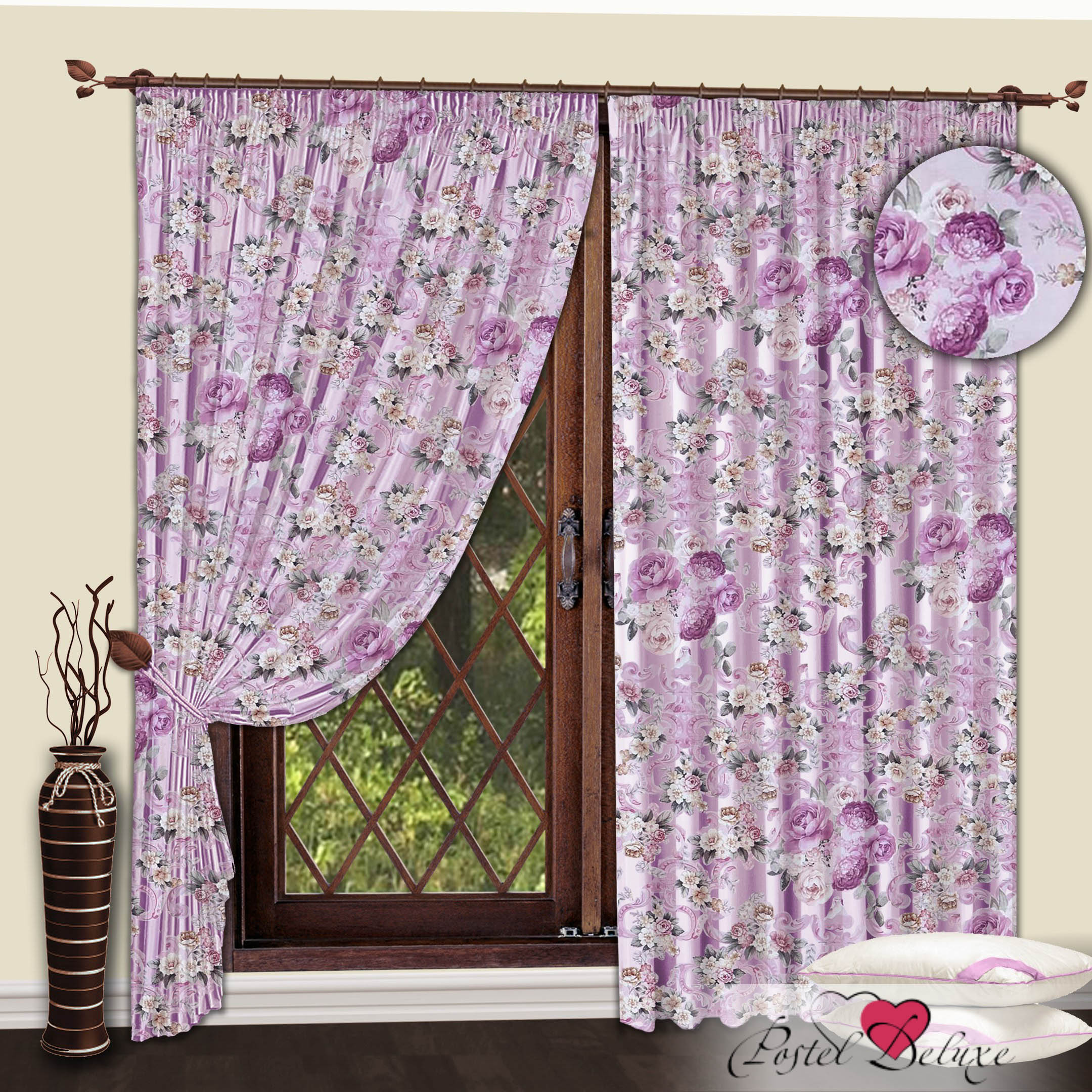 Шторы РеалТекс Классические шторы Пионы Цвет: Сиреневый шторы kauffort классические шторы barolo