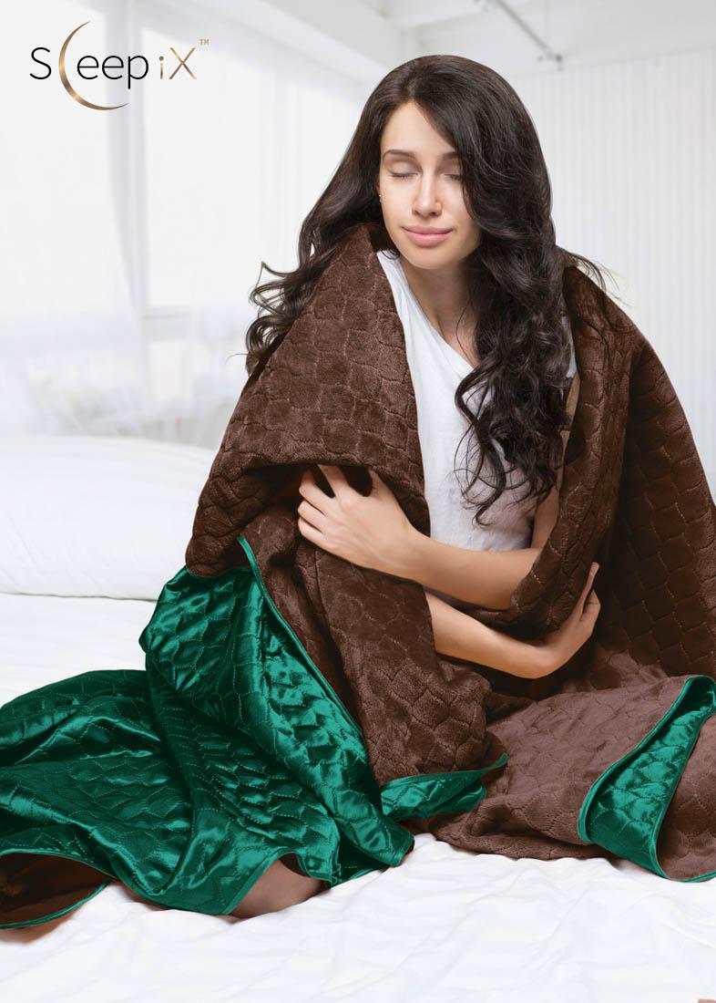 Покрывало Sleep iX Покрывало Shine'n Soft Цвет: Коричневый-Зеленый (220х240 см)