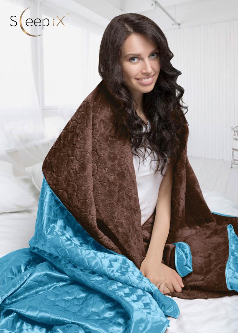 Покрывало Sleep iX Покрывало Shine'n Soft Цвет: Коричневый-Темно-Голубой (220х240 см)