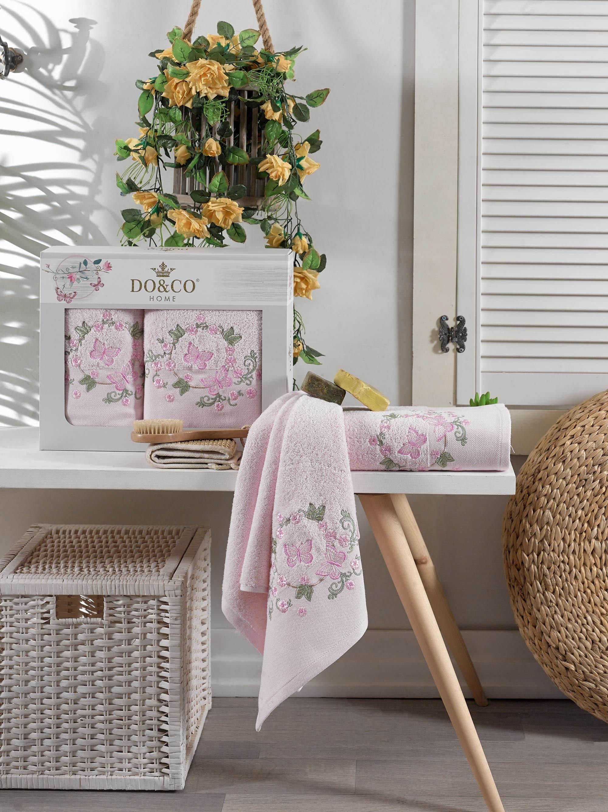 Полотенца DO'n'CO Полотенце Farfalla Цвет: Розовый (50х90 см, 70х140 см) набор из 3 полотенец merzuka sakura 50х90 2 70х140 8432 оранжевый