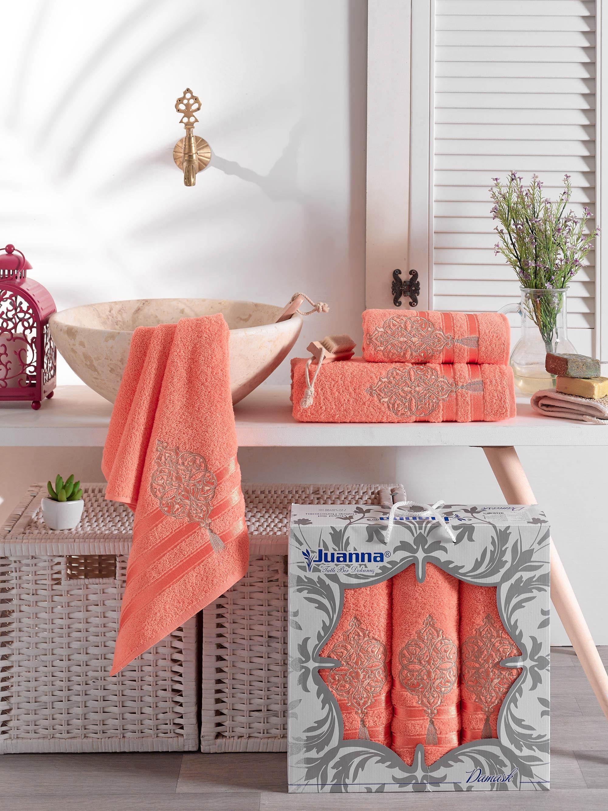 Полотенца Juanna Полотенце Damask Цвет: Оранжевый (50х90 см - 2 шт,70х140 см) набор из 3 полотенец merzuka sakura 50х90 2 70х140 8432 оранжевый