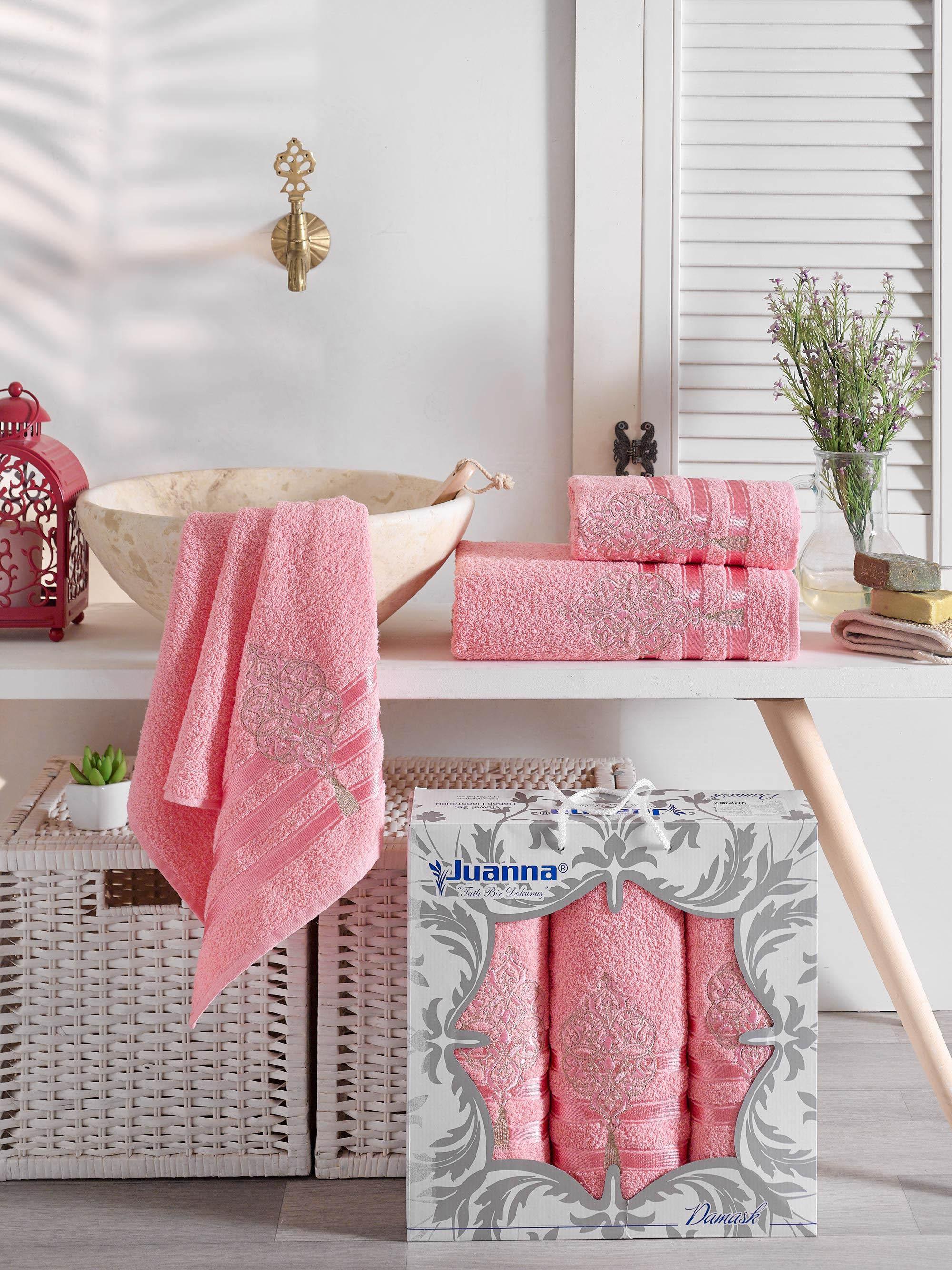 Полотенца Juanna Полотенце Damask Цвет: Розовый (50х90 см - 2 шт,70х140 см) набор из 3 полотенец merzuka sakura 50х90 2 70х140 8432 терракотовый