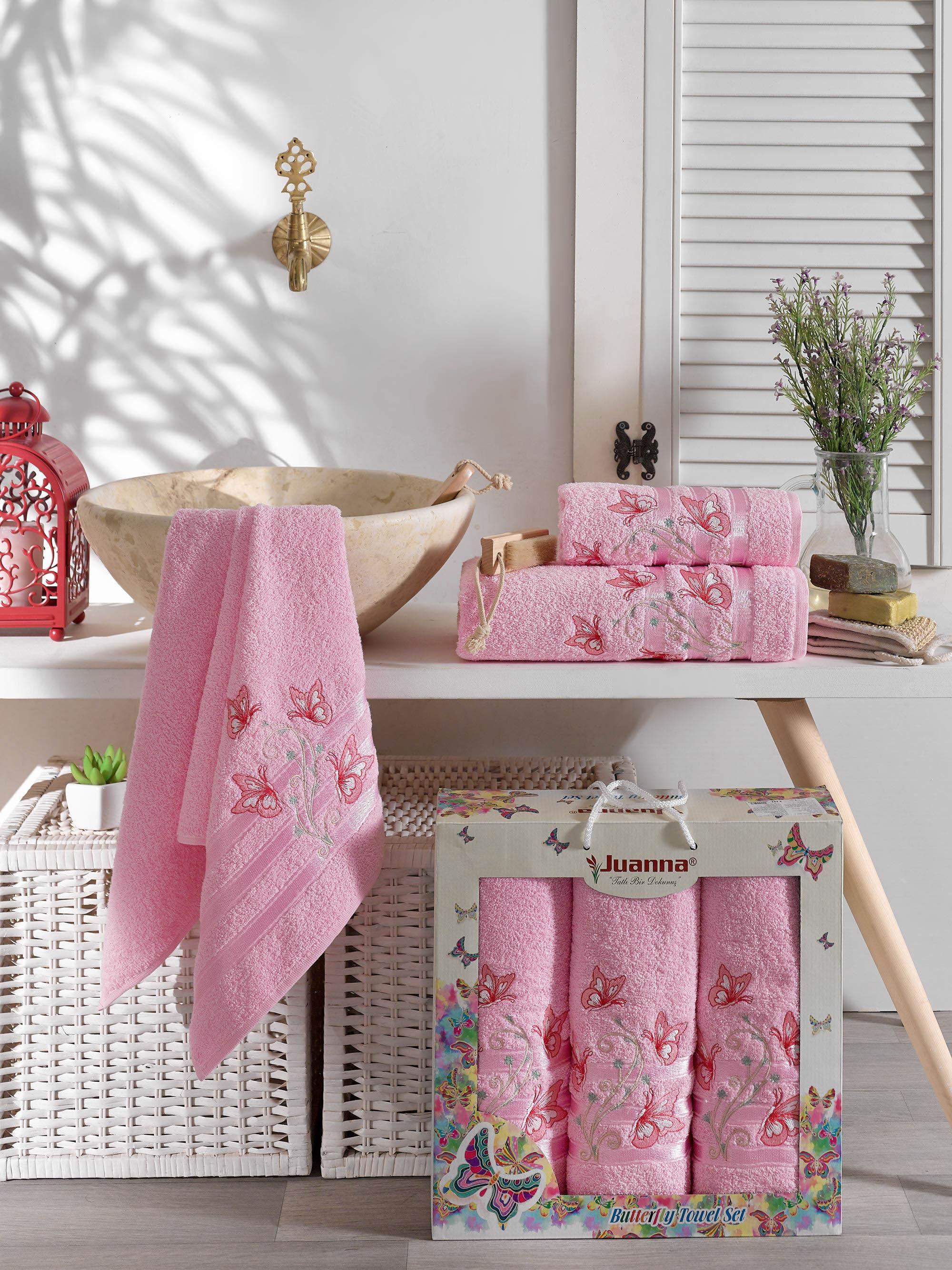 Полотенца Juanna Полотенце Kelebek Цвет: Розовый (50х90 см - 2 шт,70х140 см) набор из 3 полотенец merzuka sakura 50х90 2 70х140 8432 терракотовый