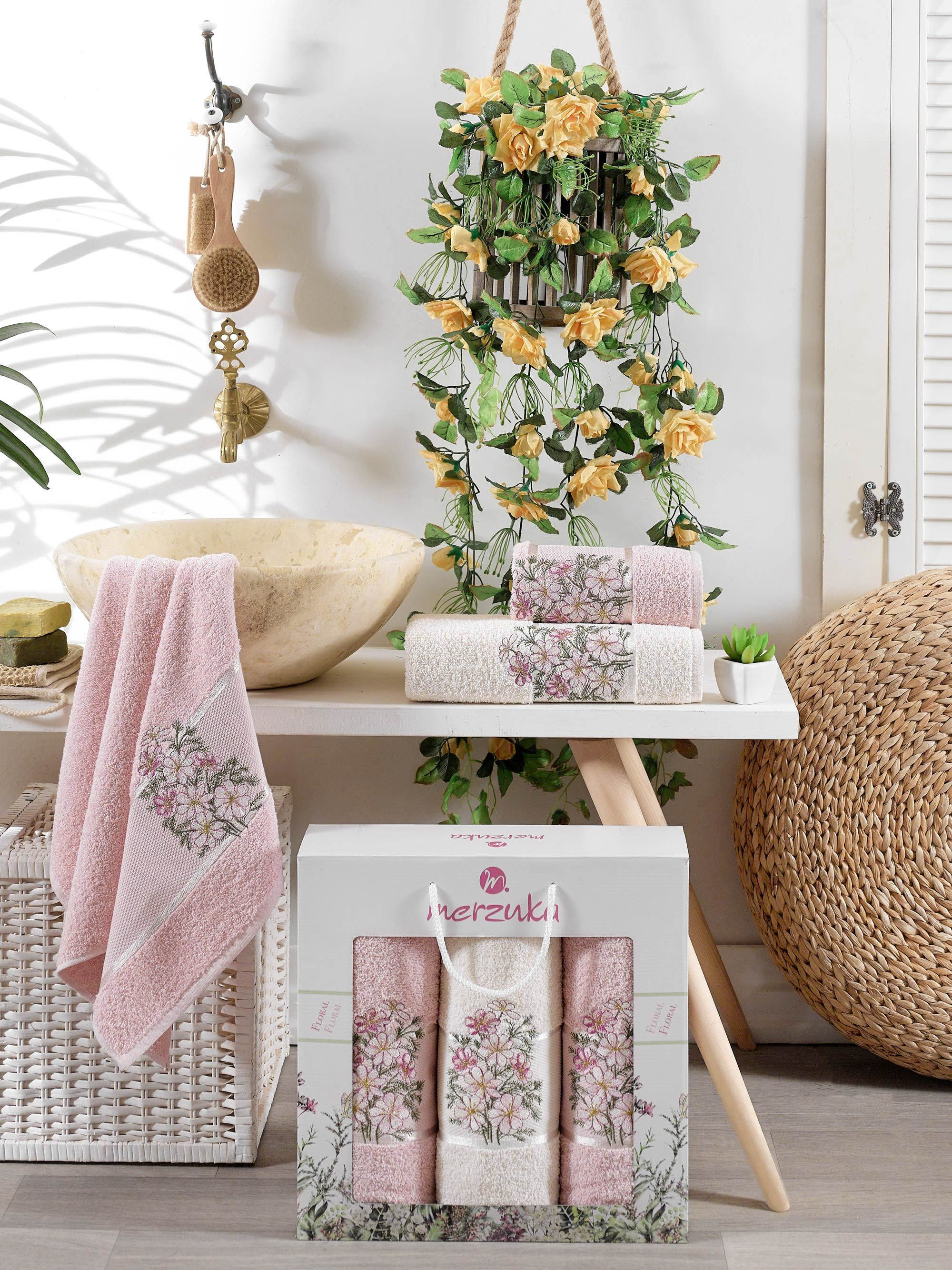 Полотенца Oran Merzuka Полотенце Floral Цвет: Светло-Розовый (50х80 см - 2 шт,70х130 см) набор из 3 полотенец merzuka sakura 50х90 2 70х140 8432 оранжевый