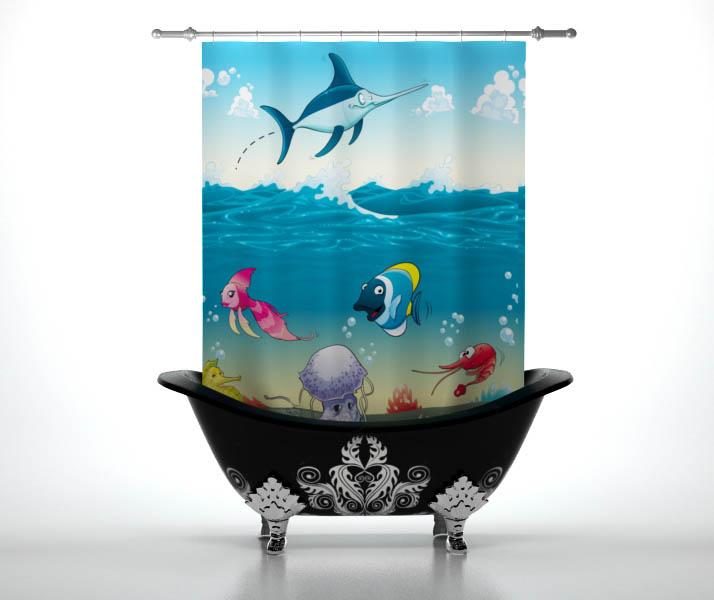 Шторы и карнизы для ванной StickButik Шторы для ванной Жизнь Океана