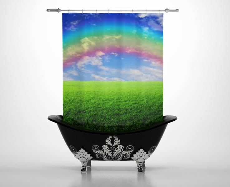 Шторы и карнизы для ванной StickButik Шторы для ванной Полосатая Радуга шторы и карнизы для ванной stickbutik шторы для ванной подводный мир