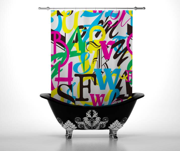 Шторы и карнизы для ванной StickButik Шторы для ванной Цветной Алфавит шторы и карнизы для ванной stickbutik шторы для ванной подводный мир