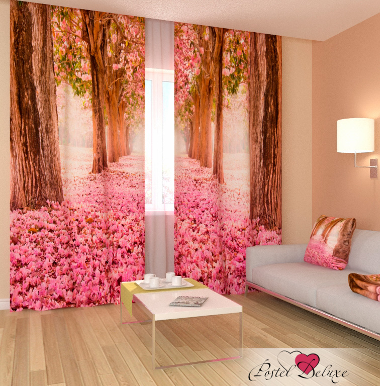 Шторы Сирень Фотошторы Розовый Тоннель фотошторы сирень розовый закат