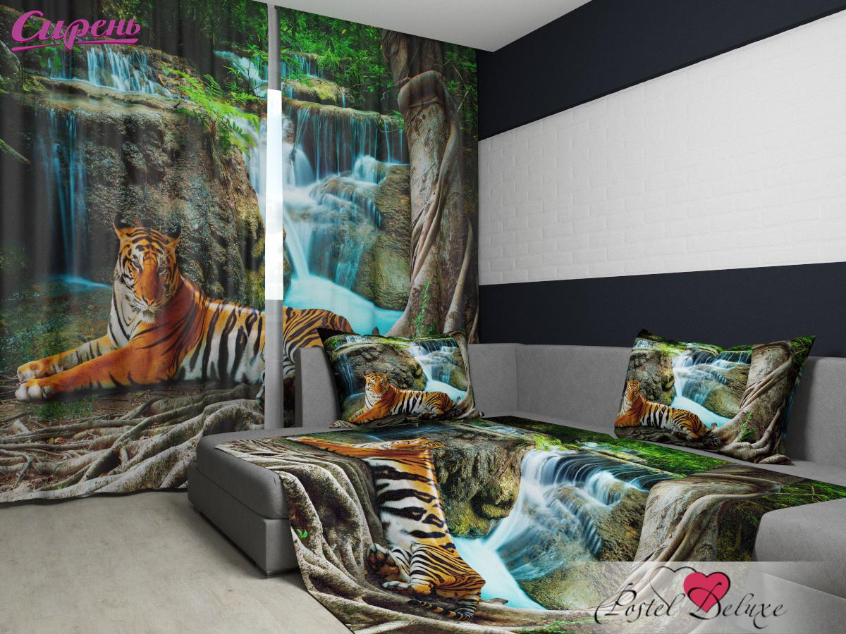 Шторы Сирень Комплект Фотошторы + Покрывало Индийский Тигр шторы сирень комплект фотошторы покрывало цветочные мотивы