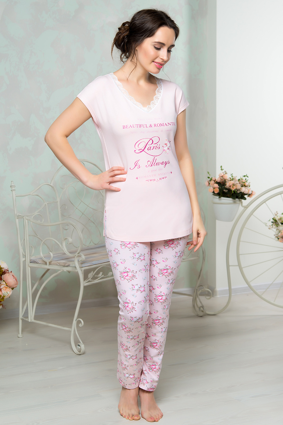 Пижамы Mia Cara Пижама Juliet Цвет: Розовый (xxL) пижама жен mia cara майка шорты botanical aw15 ubl lst 264 р 42 44 1119503