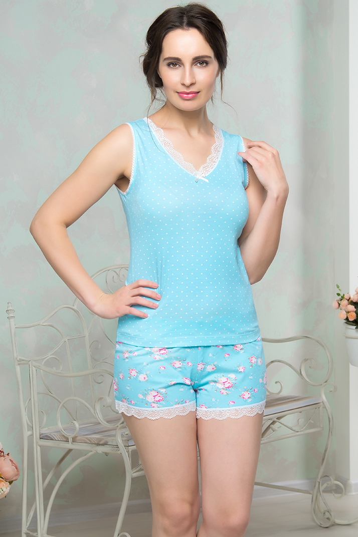 Пижамы Mia Cara Пижама Calanthia Цвет: Голубой (M-L) пижама жен mia cara майка шорты botanical aw15 ubl lst 264 р 42 44 1119503