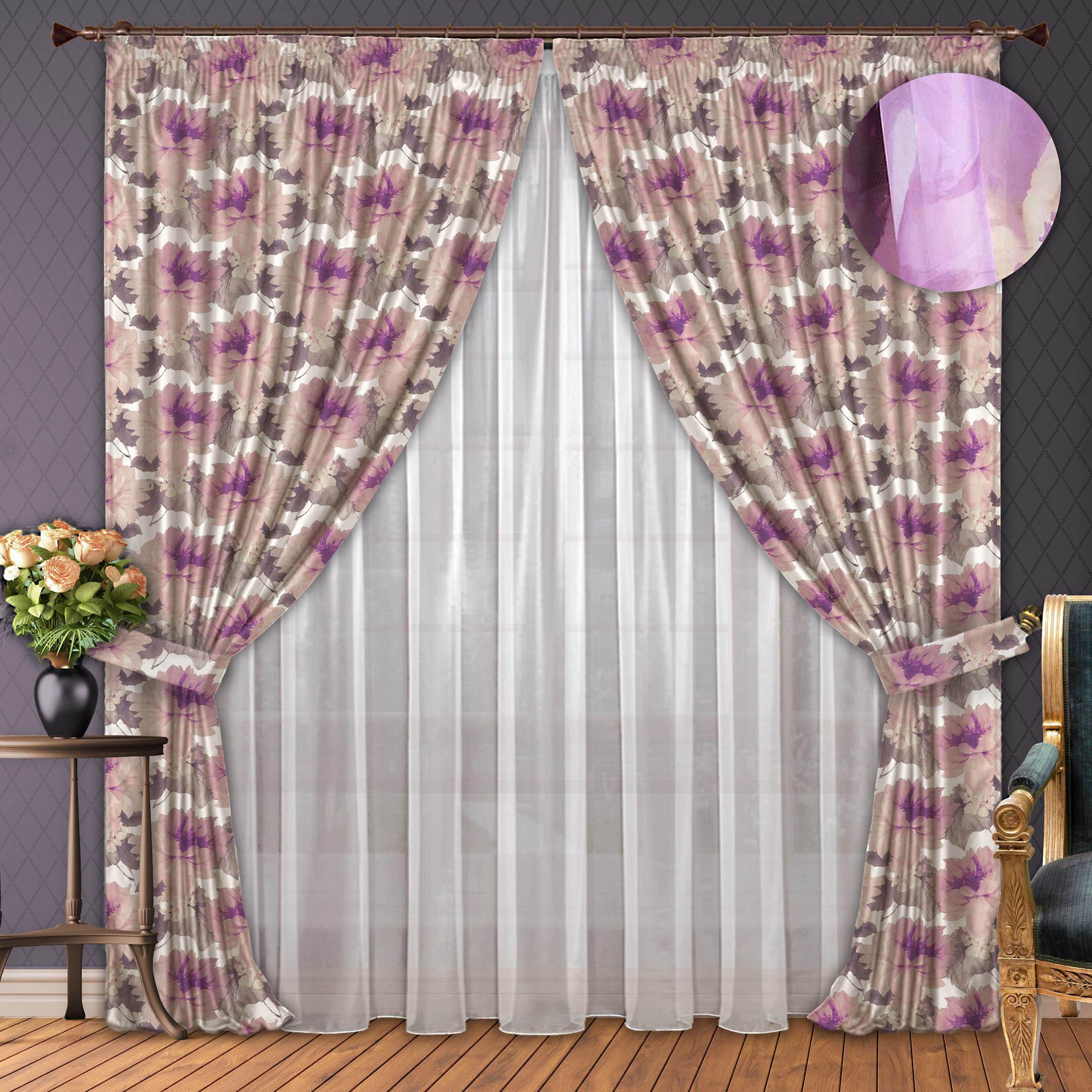 Шторы РеалТекс Классические шторы Веселье Цвет: Cирень шторы реалтекс классические шторы alberta цвет персиковый молочный