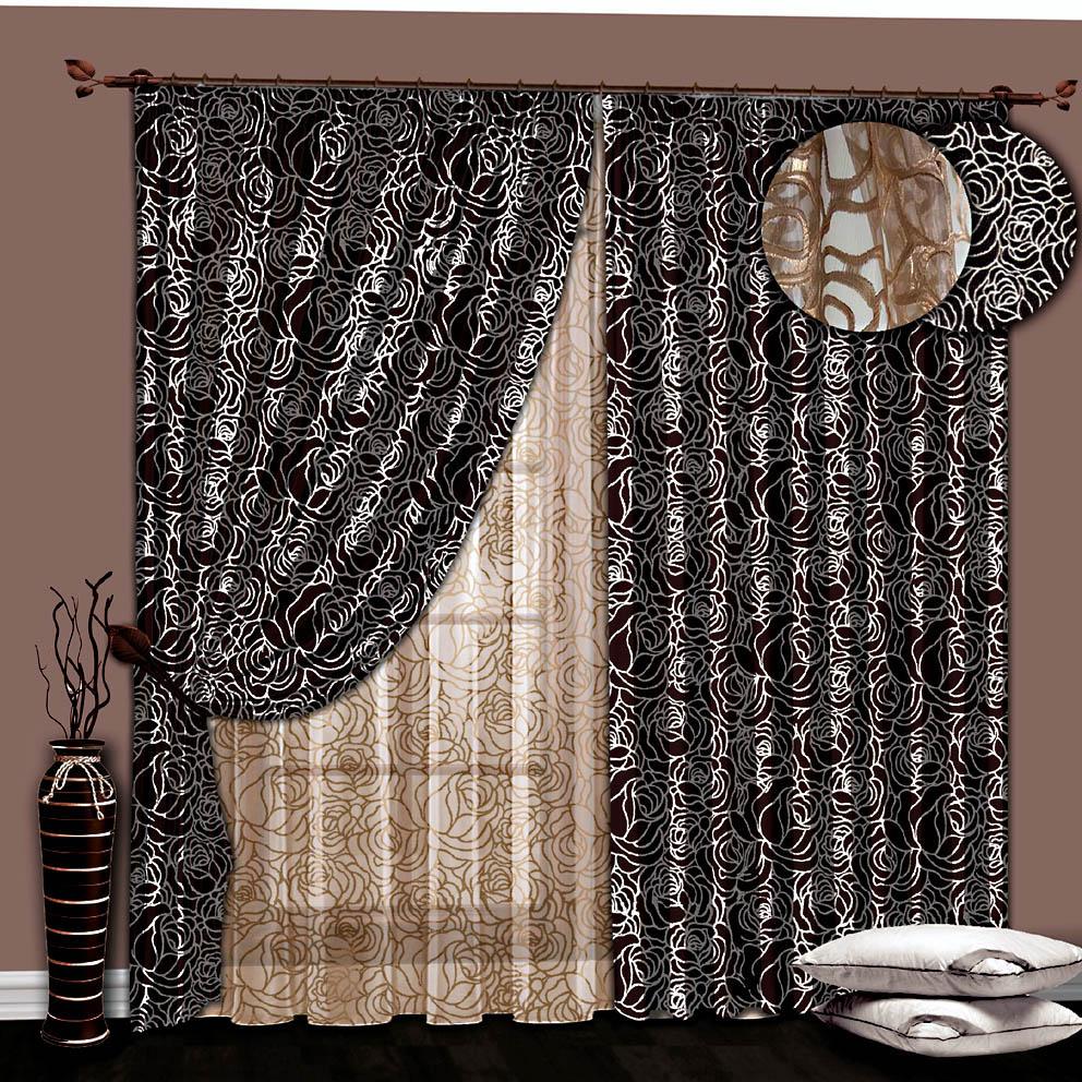 Шторы РеалТекс Классические шторы Луч Цвет: Венге/Золото шторы реалтекс классические шторы alberta цвет персиковый молочный