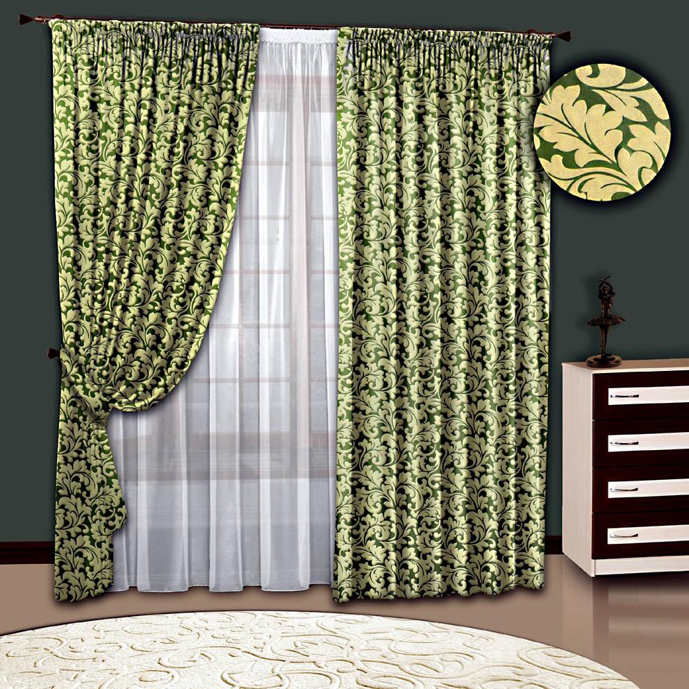 Шторы РеалТекс Классические шторы Брюз Цвет: Зеленый шторы реалтекс классические шторы alberta цвет персиковый молочный