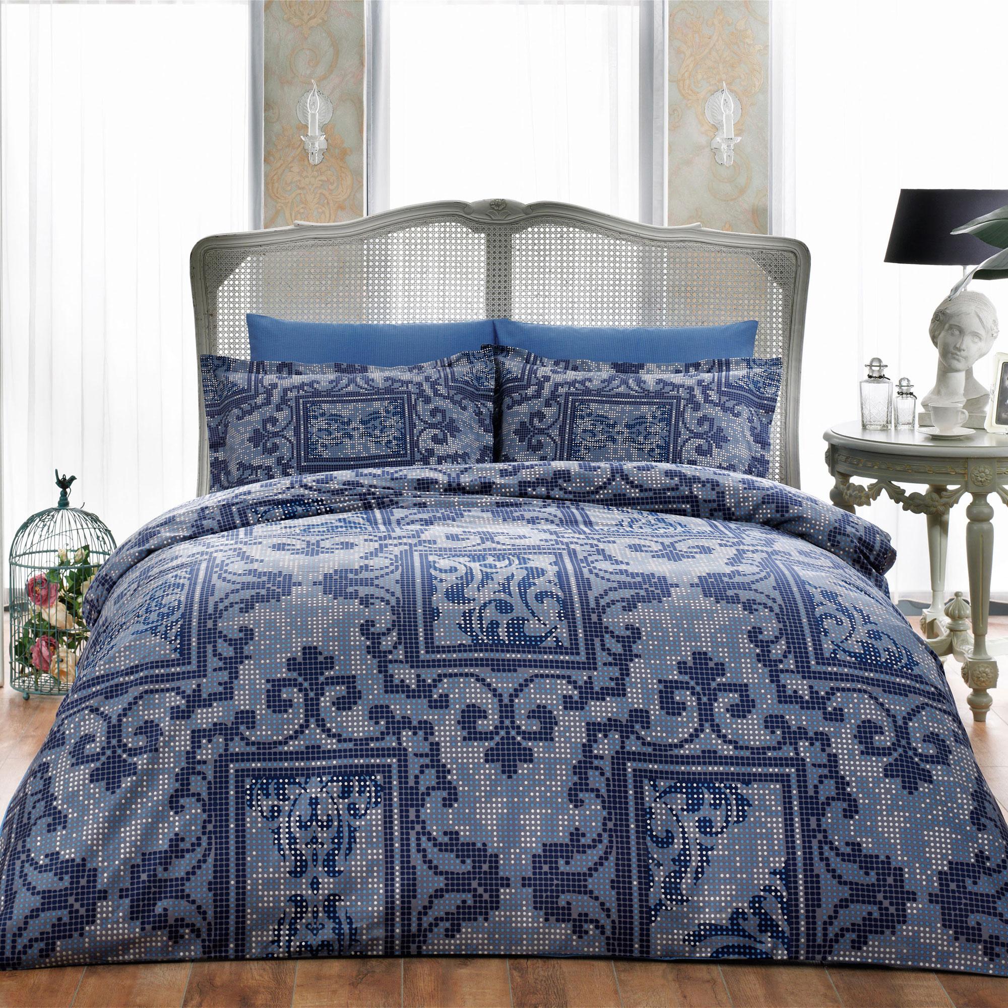 Постельное белье TAC Постельное белье Grant Цвет: Темно-Синий (2 сп. евро) постельное белье tac в спб