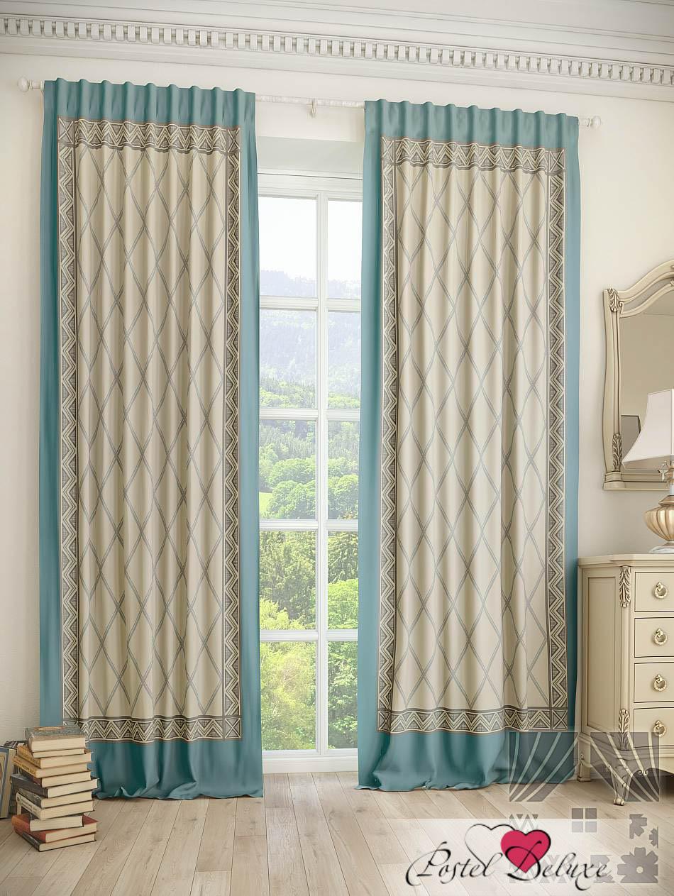 Шторы ТомДом Классические шторы Цириус Цвет: Бежево-Бирюзовый шторы томдом классические шторы керид цвет бирюзовый
