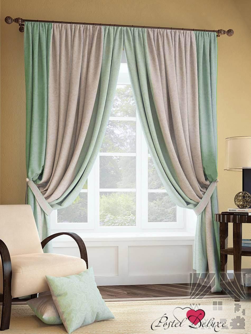 Шторы ТомДом Классические шторы Гурон Цвет: Серо-Бирюзовый шторы томдом классические шторы керид цвет бирюзовый