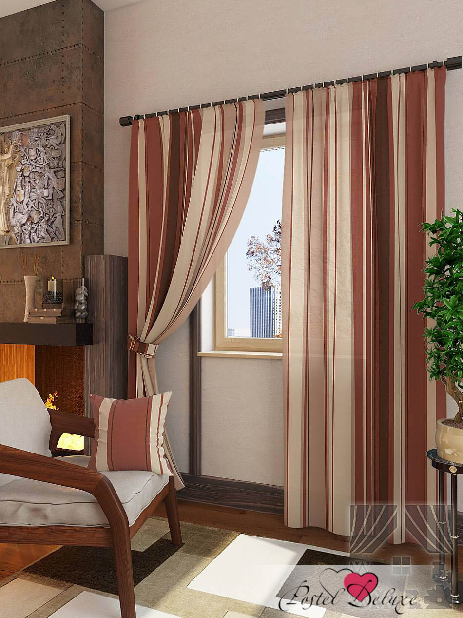 Шторы ТомДом Классические шторы Неберг Цвет: Терракотовый шторы tac классические шторы winx цвет персиковый 200x265 см