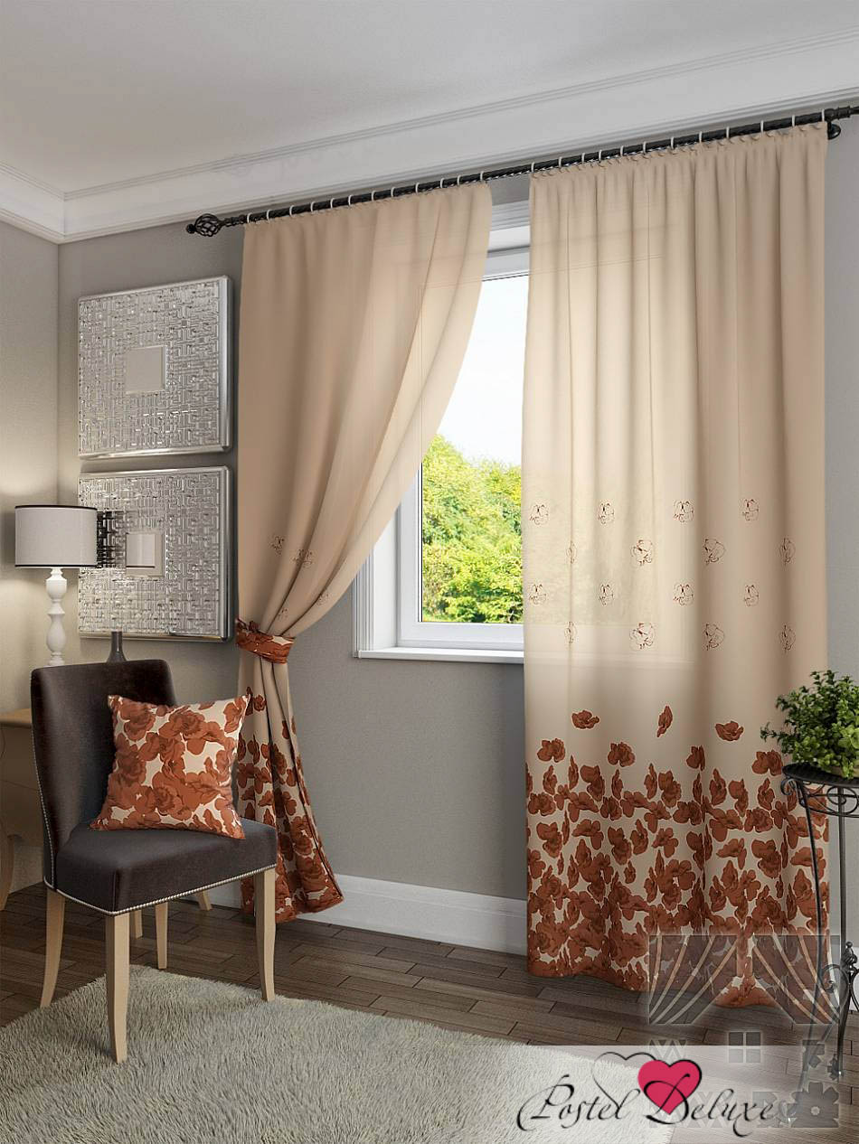 Шторы ТомДом Классические шторы Латра Цвет: Коричневый шторы tac классические шторы winx цвет персиковый 200x265 см