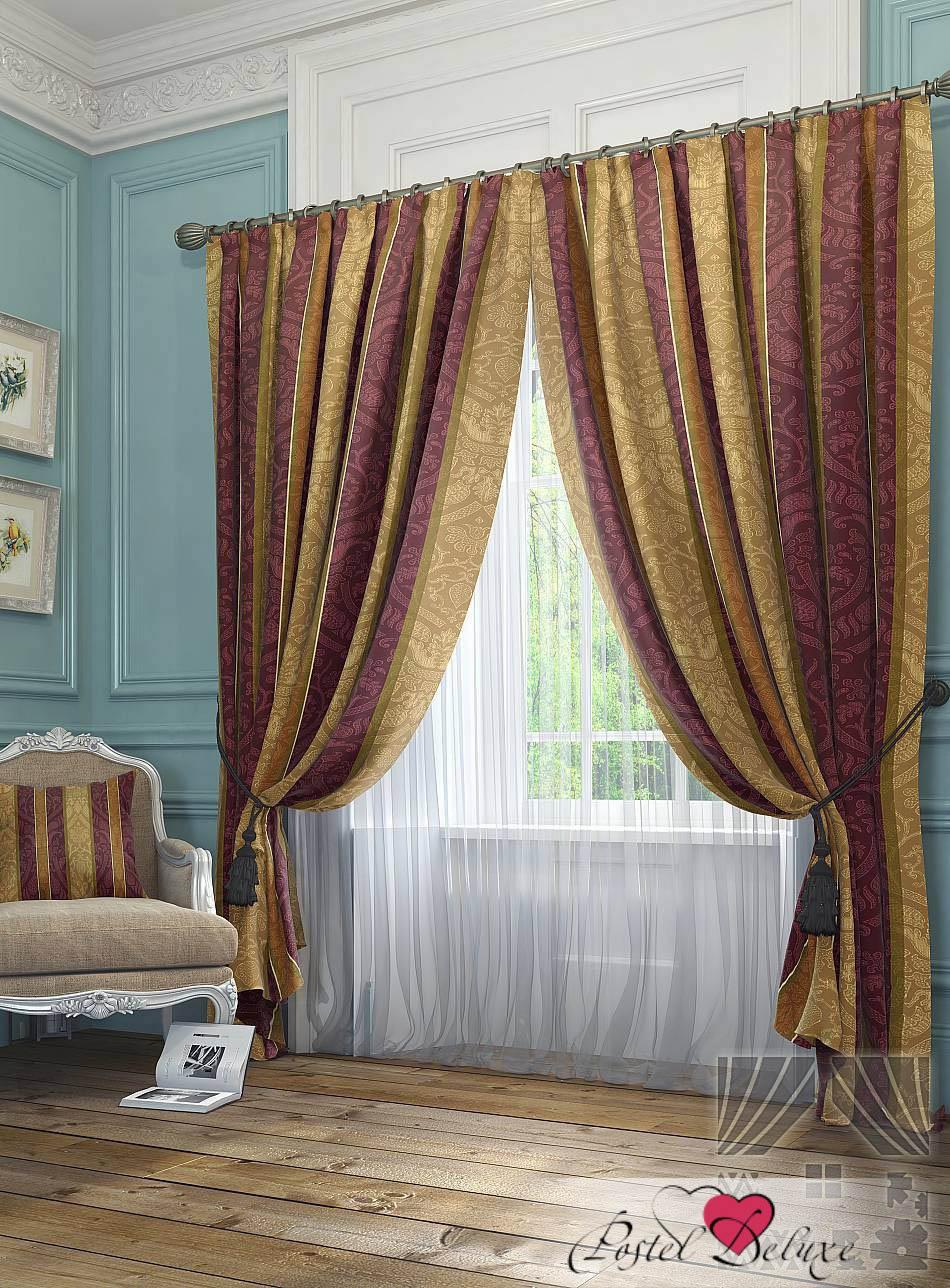 Шторы ТомДом Классические шторы Жорж Цвет: Песочно-Брусничный шторы kauffort классические шторы barolo