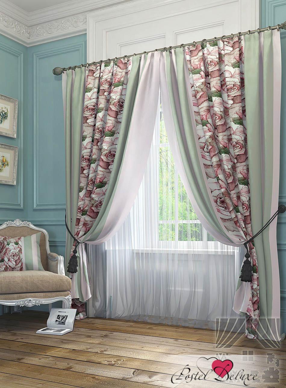 Шторы ТомДом Классические шторы Орга Цвет: Розово-Зеленый