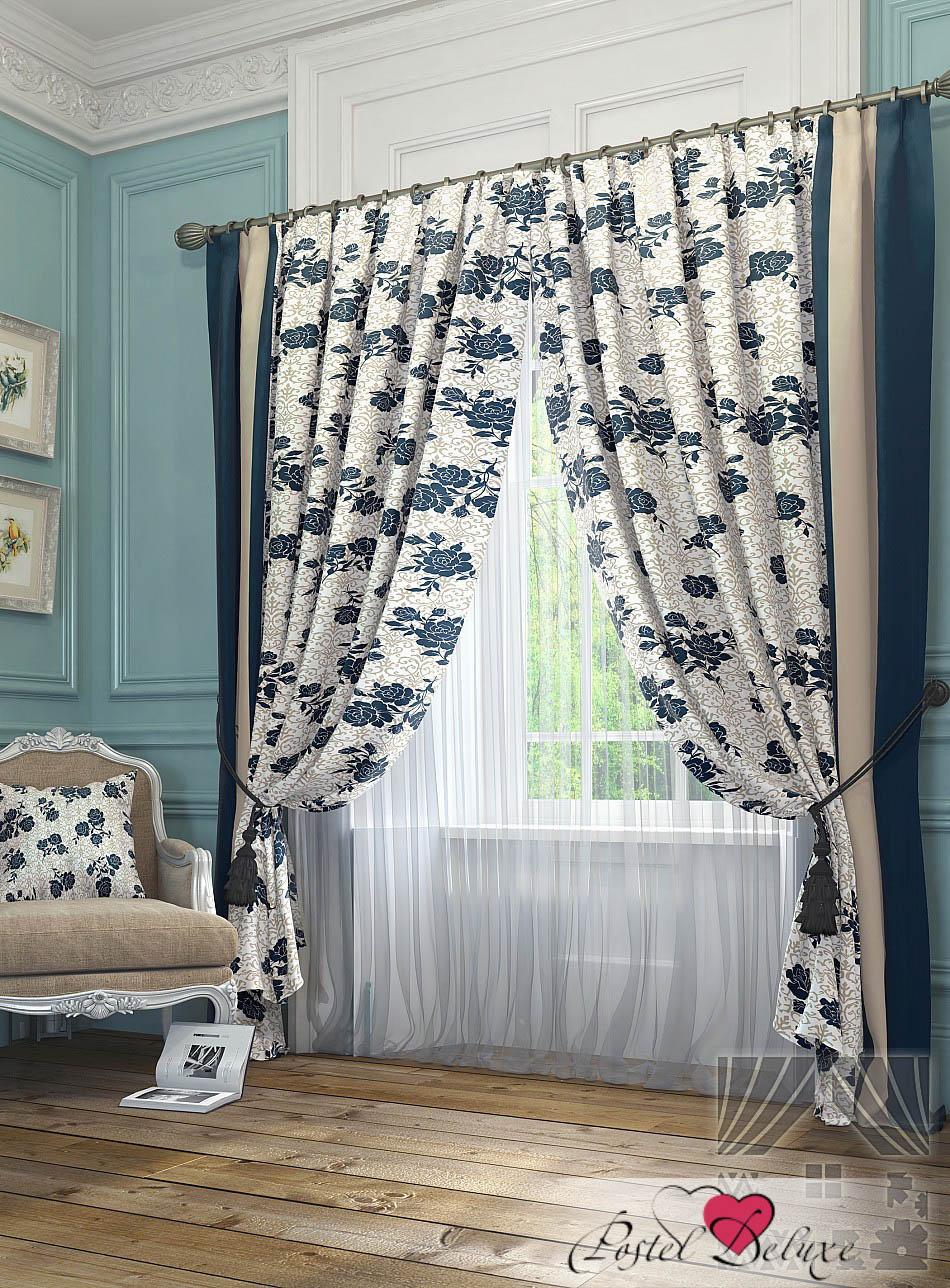 Шторы ТомДом Классические шторы Тильзит Цвет: Синий шторы tac классические шторы winx цвет персиковый 200x265 см