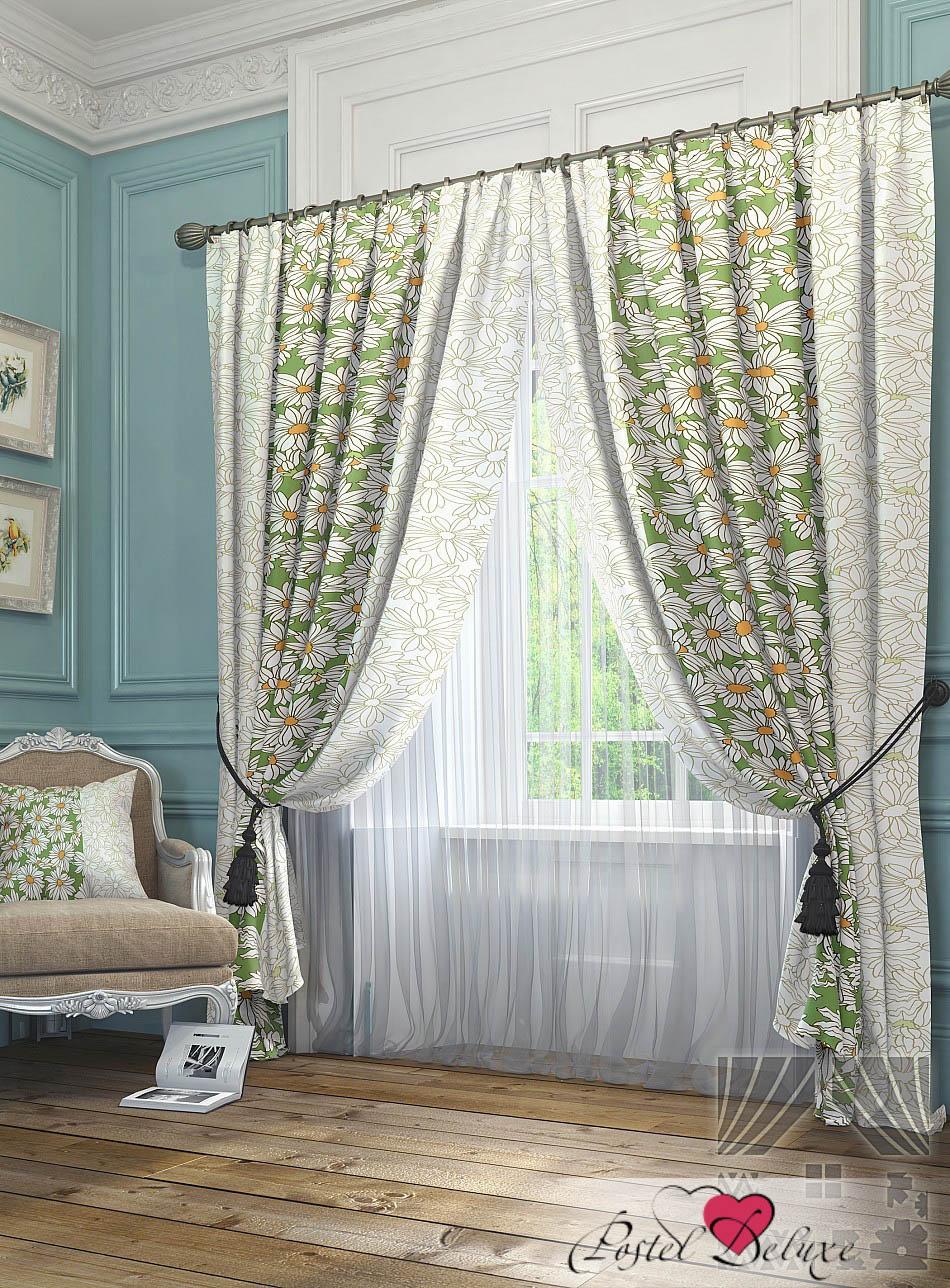 Шторы ТомДом Классические шторы Ромашки Цвет: Салатовый