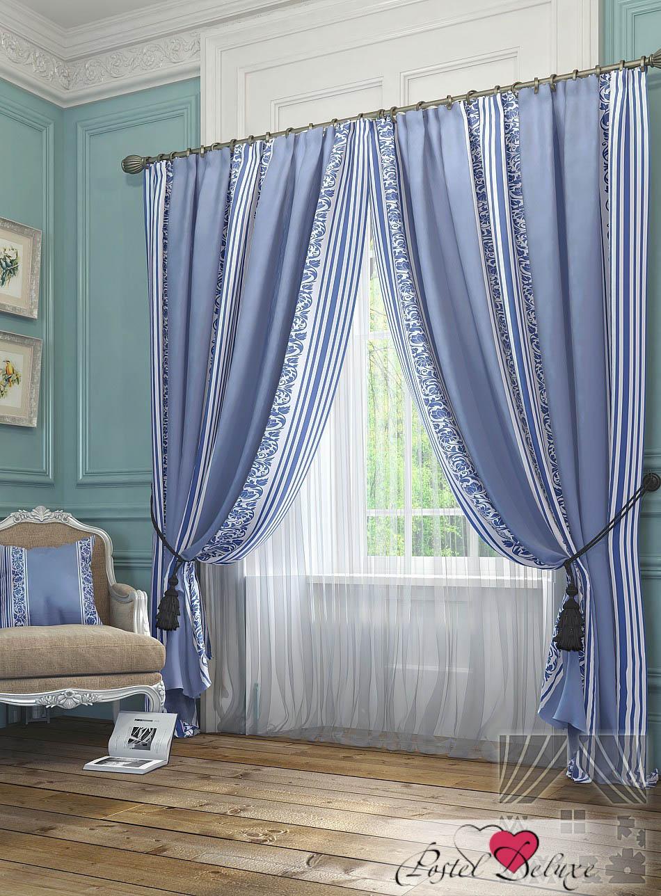 Шторы ТомДом Классические шторы Бурт Цвет: Голубой