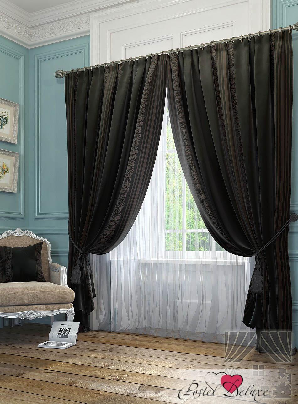 Шторы ТомДом Классические шторы Бурт Цвет: Черно-Серый