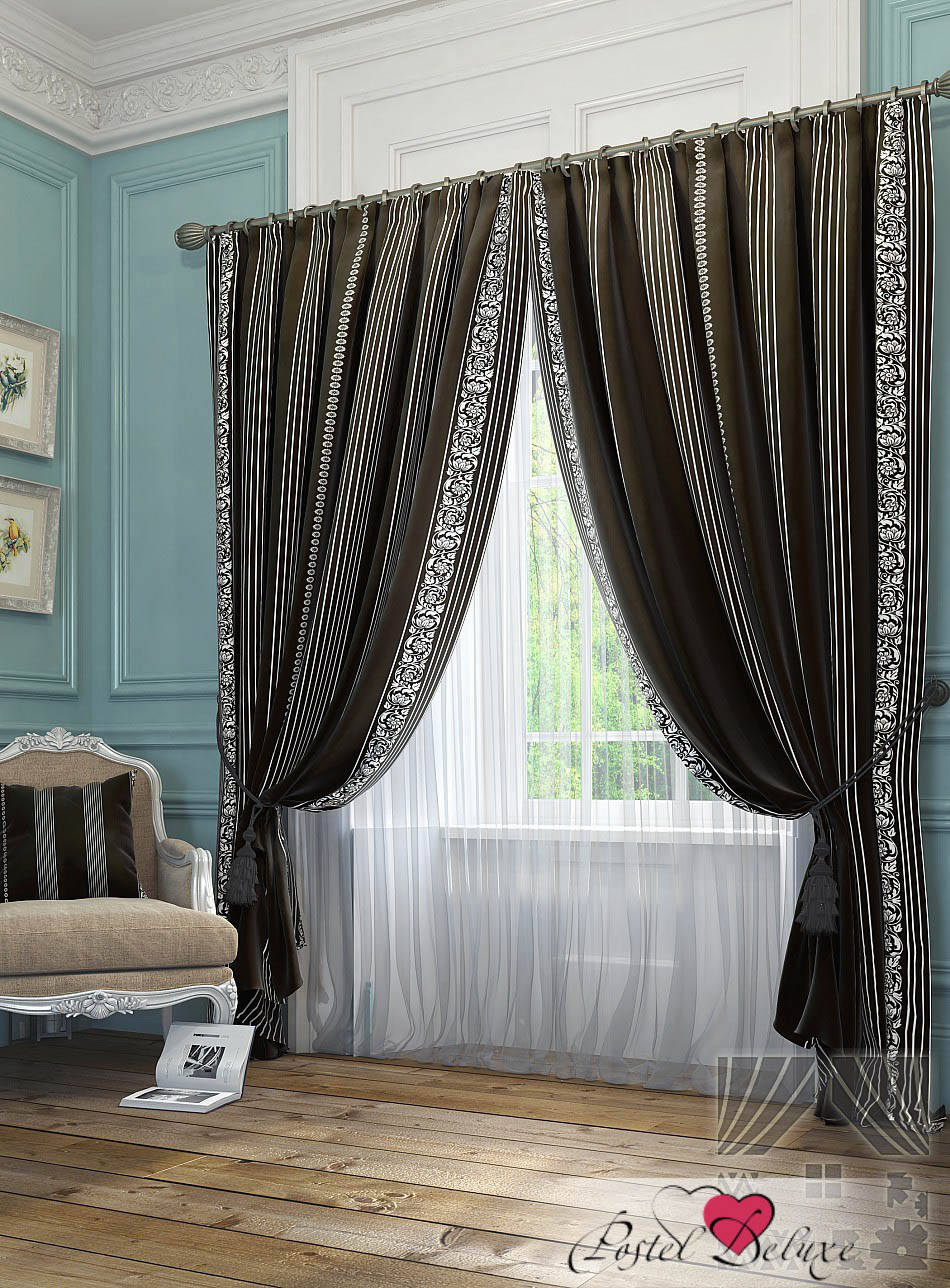 Шторы ТомДом Классические шторы Бовье Цвет: Черный