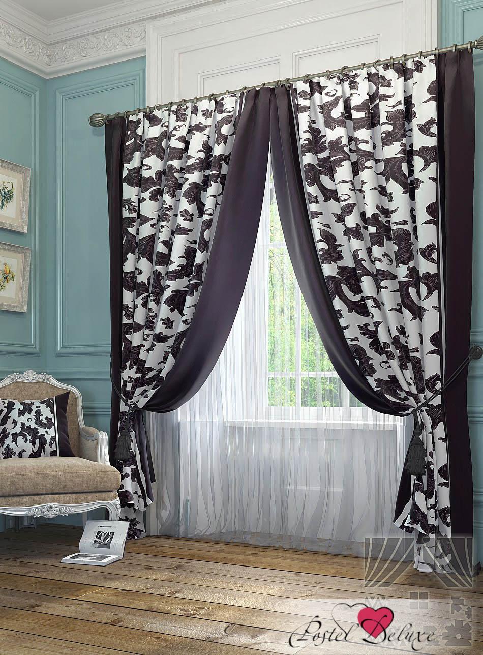 Шторы ТомДом Классические шторы Рубе Цвет: Фиолетово-Белый