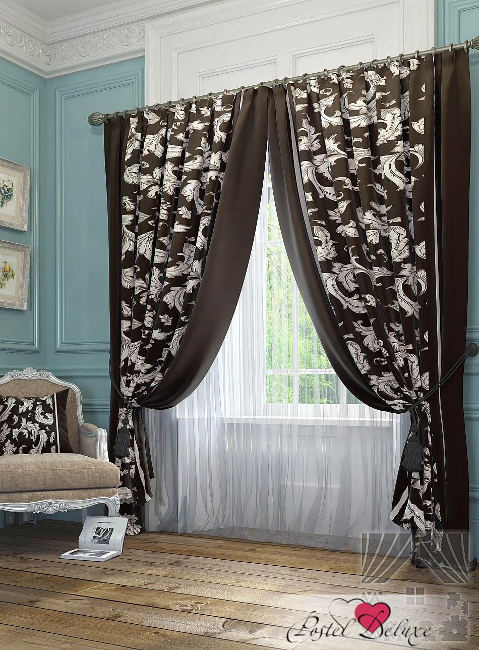 Шторы ТомДом Классические шторы Рубе Цвет: Коричнево-Бежевый шторы tac классические шторы winx цвет персиковый 200x265 см