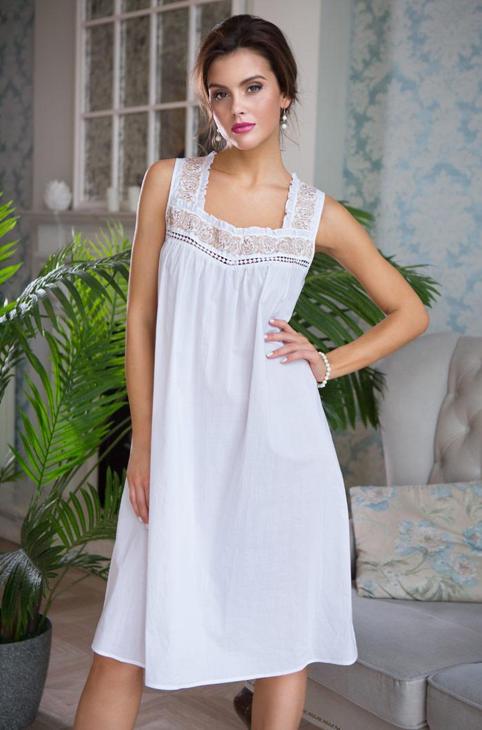 Ночные сорочки Mia-Mia Ночная сорочка Helene Цвет: Белый С Золотом (L) ночные сорочки linse ночная сорочка