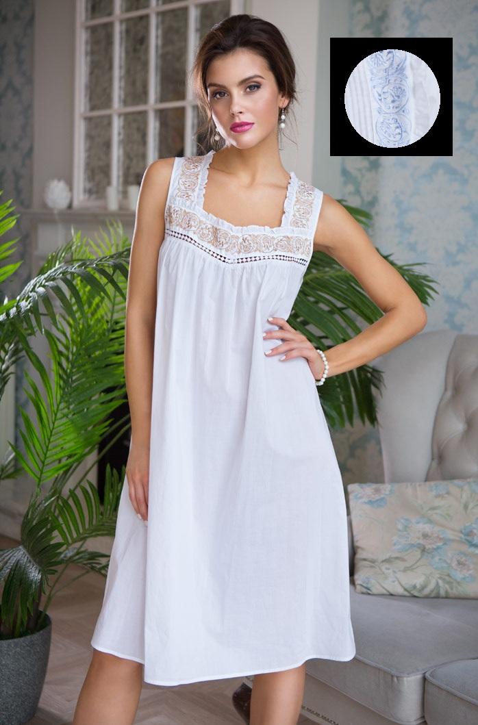Ночные сорочки Mia-Mia Ночная сорочка Helene Цвет: Белый С Голубым (M) ночные сорочки mia mia ночная сорочка rosalia m