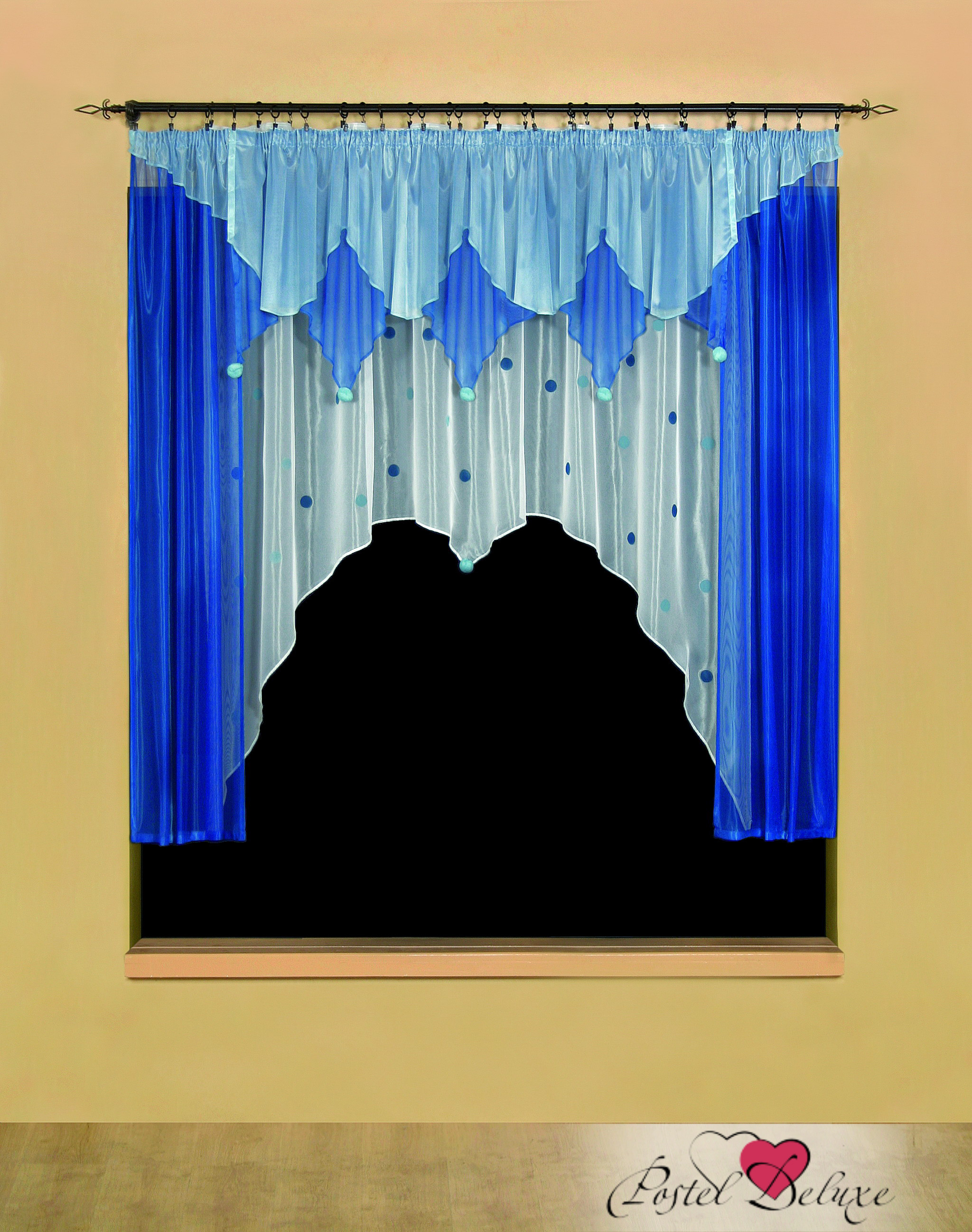 Шторы Wisan Шторы с ламбрекеном Pomponiki Цвет: Синий, Голубой шторы wisan шторы с ламбрекеном caprice цвет льняной