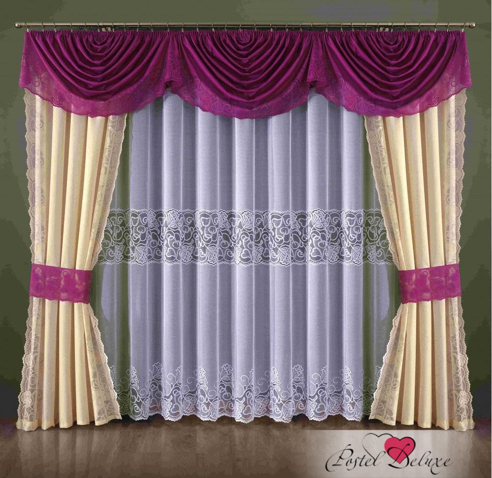 Шторы Wisan Шторы с ламбрекеном Gadiel Цвет: Кремово-Малиновый шторы wisan шторы с ламбрекеном caprice цвет льняной