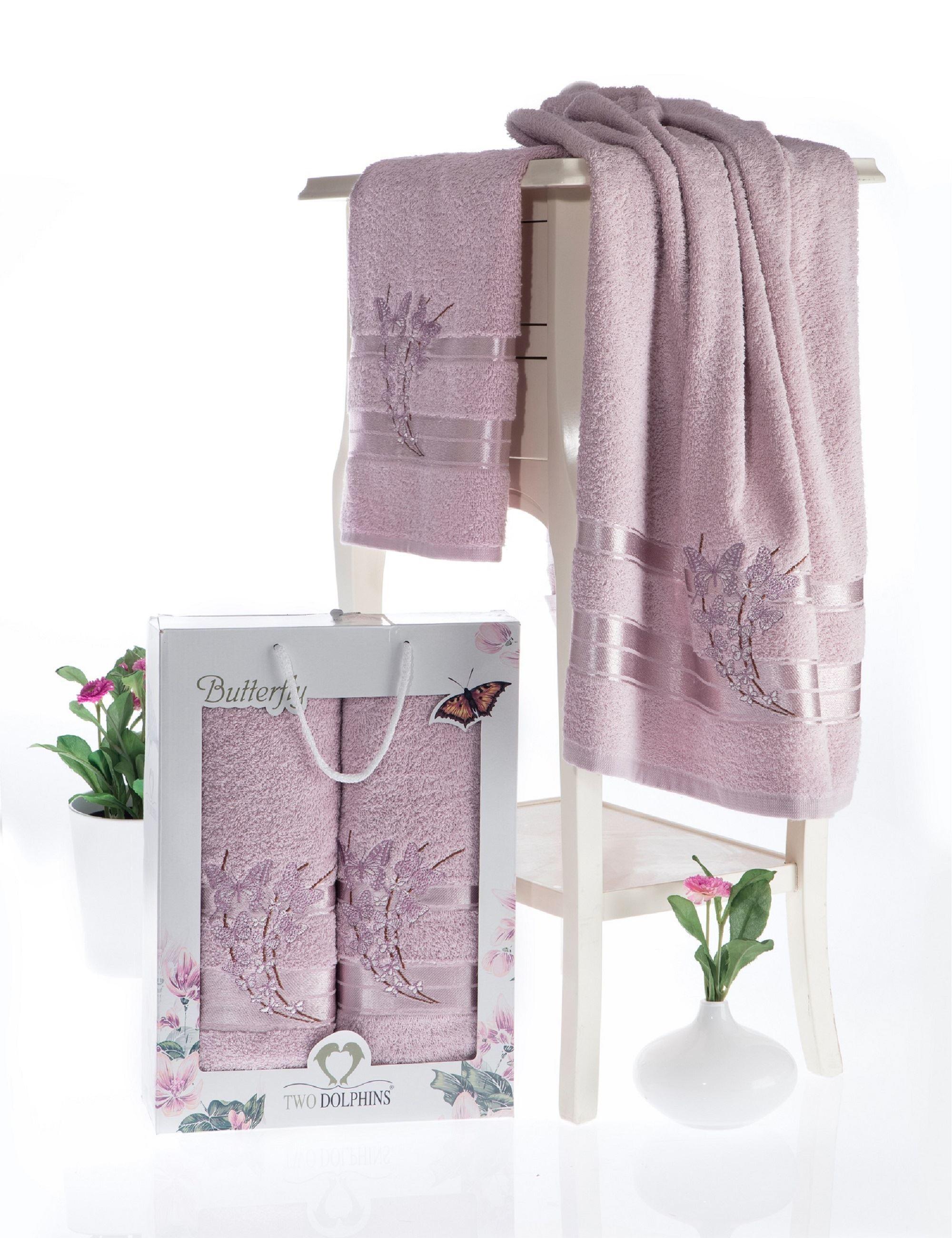 где купить Полотенца Two Dolphins Полотенце Butterfly Цвет: Светло-Розовый (50х90 см,70х140 см) по лучшей цене