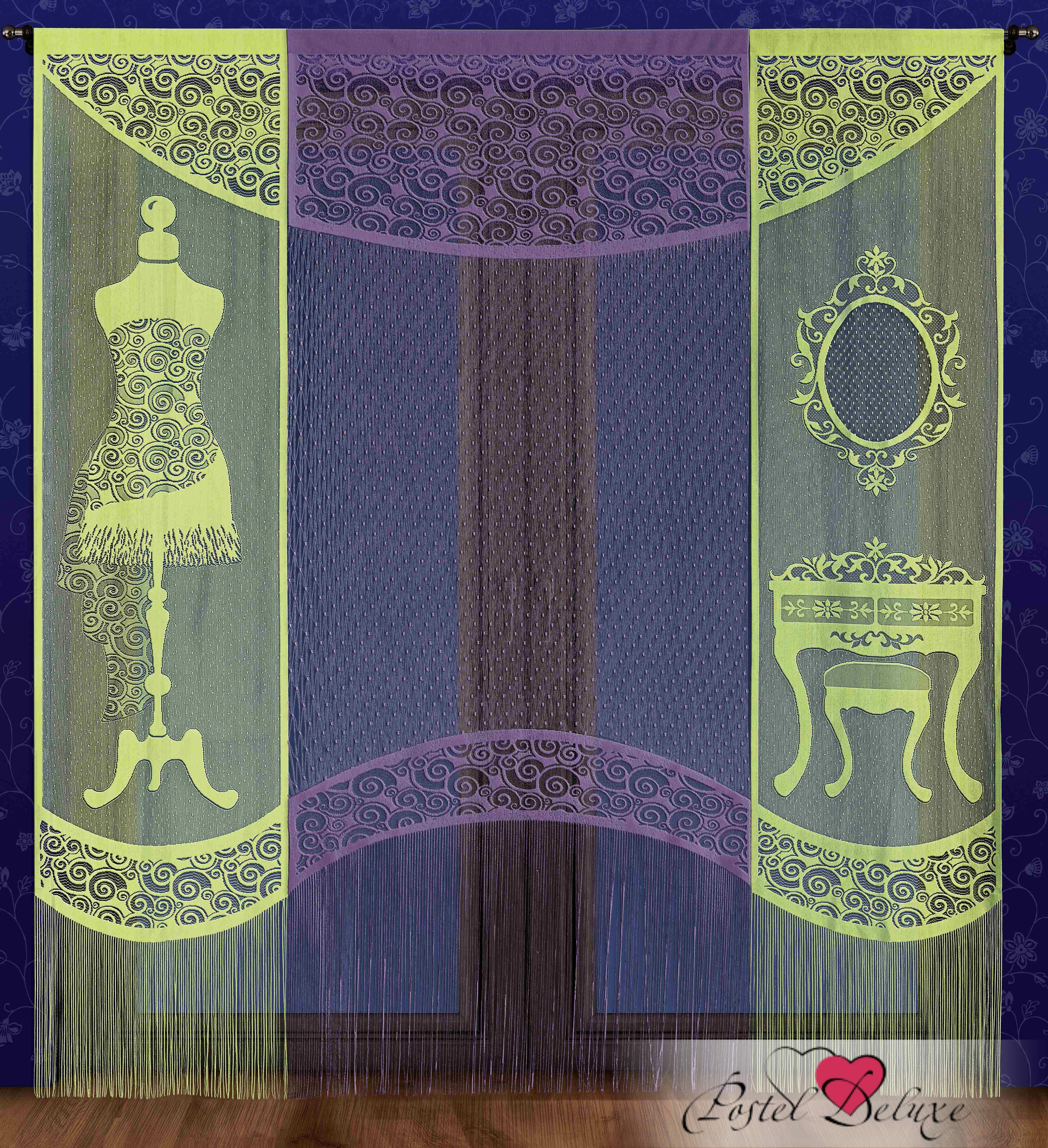 Шторы Wisan Японские шторы Цвет: Салатовый, Фиолетовый комплект штор для кухни wisan celina на ленте цвет белый оранжевый высота 180 см