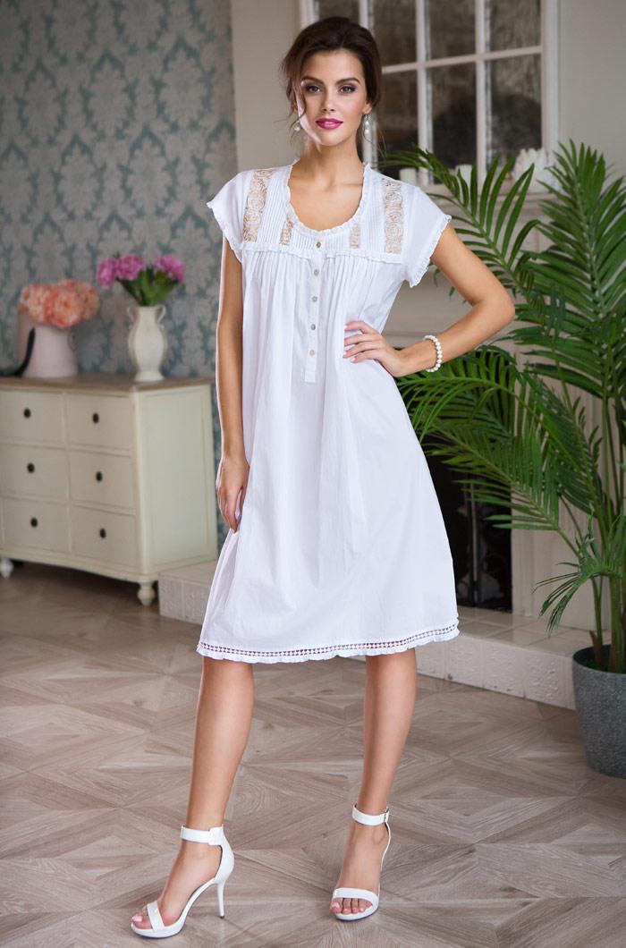 Ночные сорочки Mia-Mia Ночная сорочка Helene Цвет: Белый С Золотом (M) сорочка и стринги soft line mia размер s m цвет белый