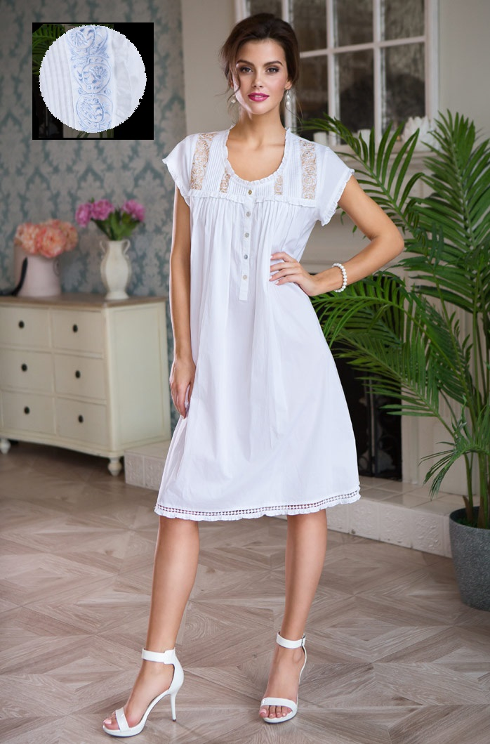 Ночные сорочки Mia-Mia Ночная сорочка Helene Цвет: Белый С Голубым (M) сорочка и стринги soft line mia размер s m цвет белый