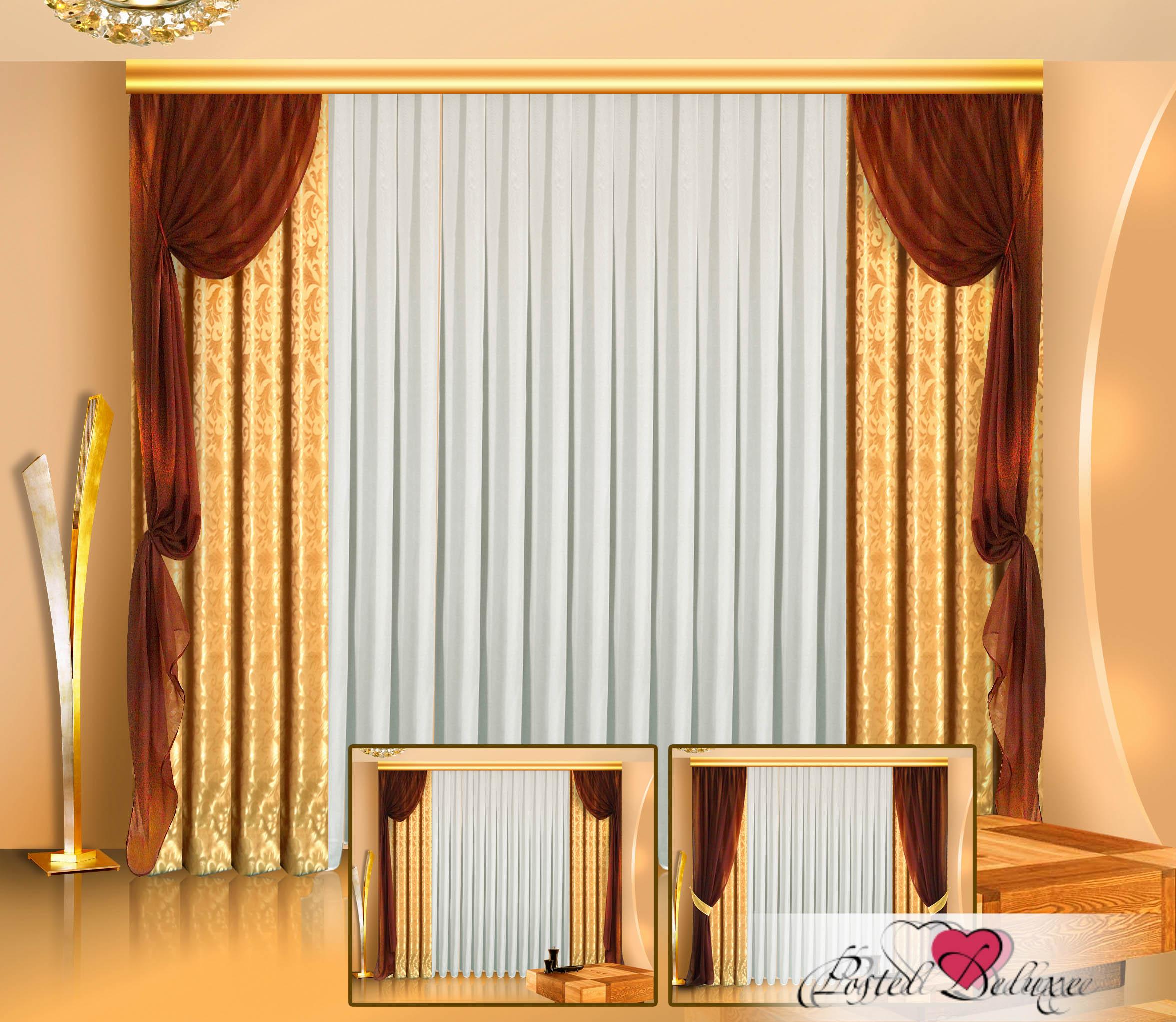 Шторы Zlata Korunka Классические шторы Adney Цвет: Коричневый, Золотой шторы tac классические шторы winx цвет персиковый 200x265 см